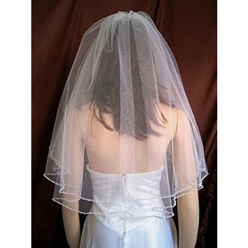 Bridal Wedding Veil Diamond (Off)White 2 Tiers Elbow Length Pearl Trim Edge