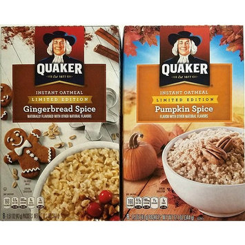 Gingerbread, Pumpkin Spice - Variety Pack of 2 - Limited Edition Quaker Instant Oatmeal