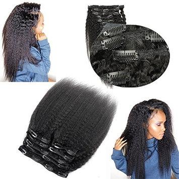 Human Hair Kinky Straight Clip In Hair Extensions 100% Virgin Remy Human Hair 7 pieces 100gram/3.6oz Grade 7A for Thin Hair Natural Black for Black Women 12 Inch