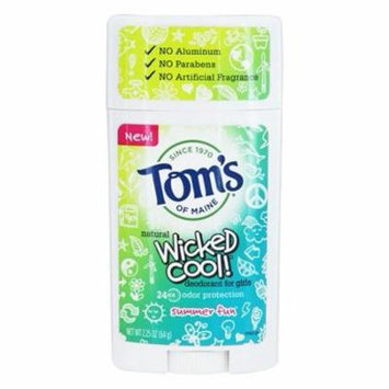 Wicked Cool! Natural Deodorant for Girls Summer Fun - 2.25 oz. by Tom's of Maine (pack of 2)
