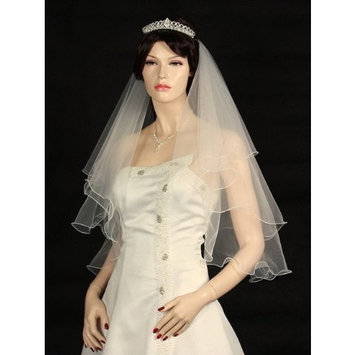 2T Filigree Scallop Pencil Edge Bridal Wedding Veil Elbow Length 30