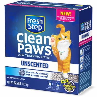Fresh Step Clean Paws Unscented Clumping Cat Litter, 22.5 Pounds