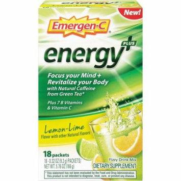 5 Pack Emergen-C Energy Plus Lemon Lime Fizzy Drink Mix, 18 Packets each