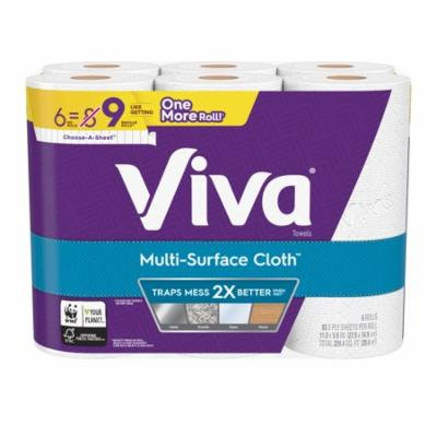 Viva Multi-Surface Cloth Choose-A-Sheet Paper Towels, Cloth-Like Kitchen Paper Towels, White, 6 Big Rolls (83 sheets per roll)