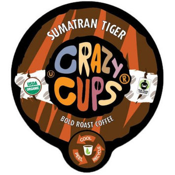 Crazy Cups Sumatran Tiger Organic Fair Trade Bold Roast Coffee Single Cups For K cups Brewer, 22 Count