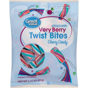 Wal-mart Stores, Inc. Great Valueâ ¢ Twist Bites Very Berry Chewy Candy 3.25 oz. Bag