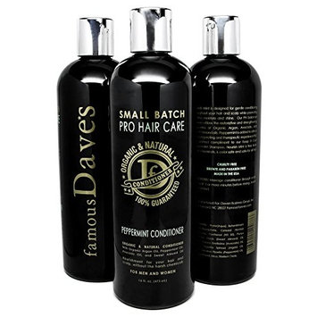 Dave's Premium Sulfate Free Hair Conditioner, 16 oz. Dry and Damaged Treatment with Organic Natural Argan Oil, Peppermint, Avocado, and Almond Oils - Sulfate Free for Men, Women, and Teens