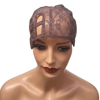 BEEOS Hair Breathable Double Lace Wig Caps for Women for Making Wigs with Adjustable Straps Swiss Lace Medium Brown Color, Medium Size