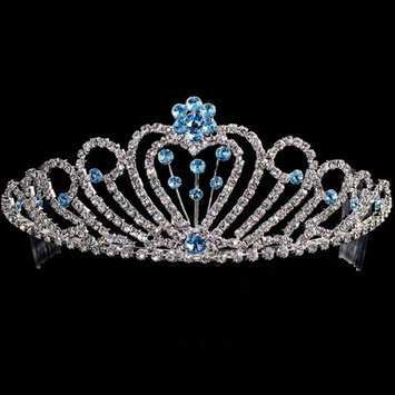 Crystal Rhinestone Blue Flower Quinceanera Pageant Tiara Headpiece
