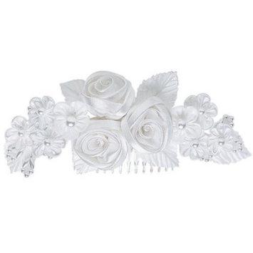 Wilton Floral Ribbon Headpiece, White 1006-702