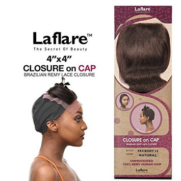 LaFlare Unprocessed Brazilian Virgin Remy Human Hair Weave 4X4 Lace Closure On Cap 12