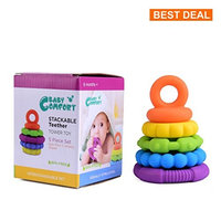 Stacking Baby Teether Toy - Sensory Silicone Teething Rings for Babies – Promote Motor Skills-Premium Food Grade Silicone Rainbow Colors - BPA Free