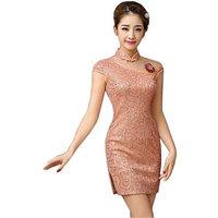 Panda Superstore PS-CLO1045024-JACKY02109 Elegant Slim Cheongsam Traditional Wedding Dress Cheongsam, Pink - Large