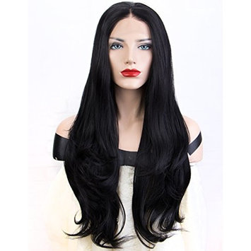 Persephone Natural Black Lcace Front Wig Wavy with Middle Part Glueless Wavy Synthetic Wigs Lace #1B Heat Resistant 22 Inches