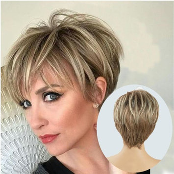 Lady Miranda Brown Mixed Blonde Color Short Layer Nature Curly with Bangs Synthetic Wig Heat Resistant Weave Full Wigs for Women