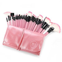 DRQ Makeup Brush Set,32 Pc Professional Wooden Handle Makeup Brushes Set in Pink Case,Foundation Brush Blending Face Powder Blush Concealers Eye Shadows Make Up Brushes Kit
