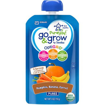Abbott Nutrition Go & Grow by Similac Pouches with OptiGRO, Pumpkin, Banana, Carrot Puree, For 6+ Months, Organic Baby Food, 4 ounces (Pack of 12)