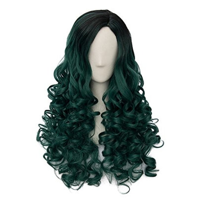 24 Inches Long Curly Black Root Cosplay Hair Full Wig Trendy Fashion Lolita