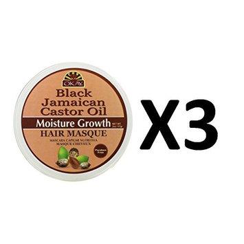 [ PACK OF 3 NEW ARRIVAL] OKAY BLACK JAMAICAN CASTOR OIL MOISTURE GROWTH HAIR MASQUE 2 OUNCE : Beauty