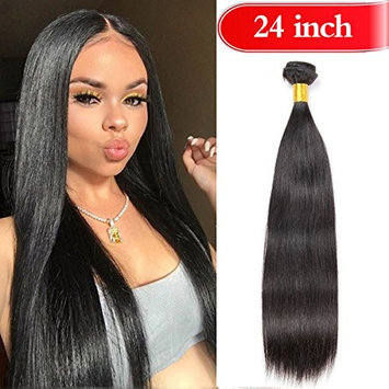 YOUFA Straight Hair Bundles Weave Hair 100% Unprocessed Virgin Brazilian Human Hair 1 Bundle 24 Inch 8A Remy Hair Extensions Natural Color []