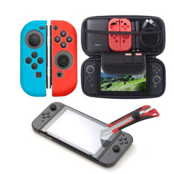 Insten 4in1 Starter Bundle Kit for Nintendo Switch - Carrying Travel Hard Shell Case Built-in Game Cartridge Slot + Tempered Glass Screen Protector + Silicone Joy Con Skin [Left BLUE/Right RED]