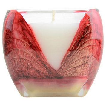Mistletoe Red Cascade Candle The Inside Of This 4 Inch Glass Candle Is Painted With Wax To Create Swirls Of Gold And Ric