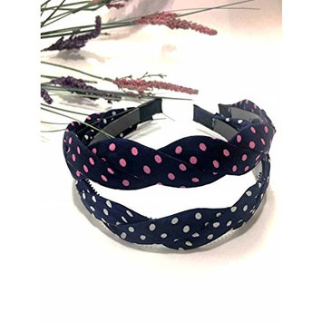 Evertrade Twisted Chiffon Polka Dot Womens Fashion Headband Pack of 2 Count