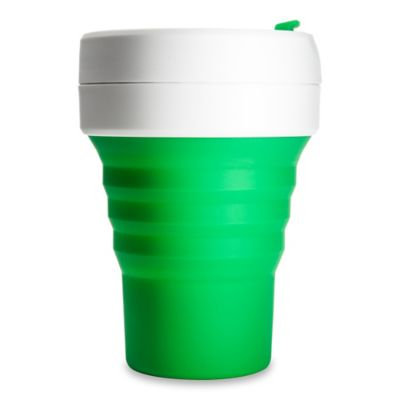 Stojo ST1-12OZ-COF-GRN-RET Collapsible Reusable Silicone Coffee Cup, 12 oz, Green