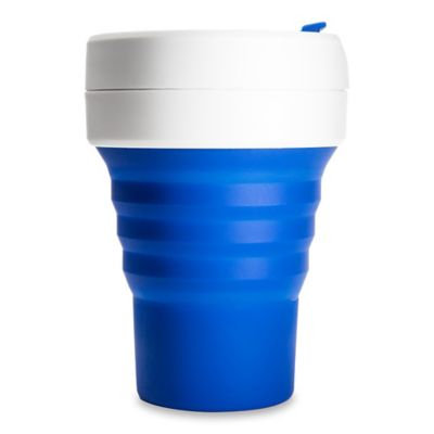 Stojo ST1-12OZ-COF-BLU-RET Collapsible Reusable Silicone Coffee Cup, 12 oz, Blue