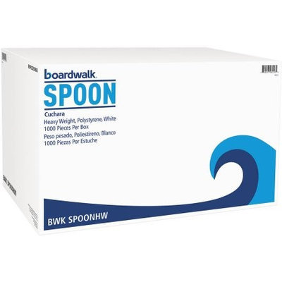 BoardWalk SPOONHW Full-Length Polystyrene Cutlery Teaspoon White 1000/Carton