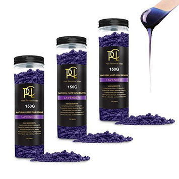 (3 Pack) 450g Hard Wax Beans, Brazilian Bikini Pearl Wax, Hot Wax Beads Hair Removal for Face, Body, Eyebrow, Nose, Leg - Depilatory Painless European Facial Wax for Women Men, All Lavender Flavor : Beauty