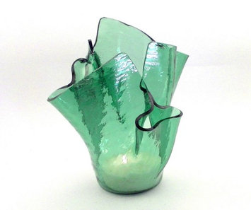 Vase Candle Sea Green Cathedral Reusable Glass Vase and a Spring Rain Half Candle (Pack of 2)