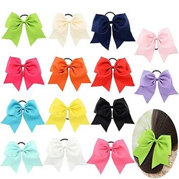 Tobatoba 14 Pack 8 Inch Large Cheer Hair Bows Elastics Ponytail Holder Grosgrain Ribbon Pinwheel Boutique Hair Bows For Baby Girls Teens Toddlers Kids Children, 14 Colors