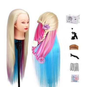MYSWEETY 29 Inch Colorful Hair Mannequin Head Hairdressing Practice Training Doll Heads Cosmetology Hair Styling Mannequins Heads with Clamp +...
