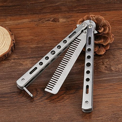 1 Pc Combs Hair Brush Stainless Steel Practice Training Butterfly Knife Comb Tool Combo Pocket Long Round Handle Holder Goodly Popular Beard Natural Grooming Kids Travel Kit