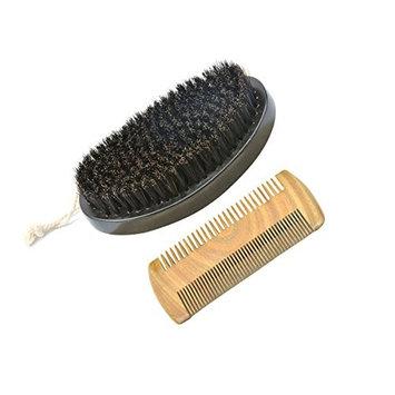 Frcolor Men's Beard Brush and Comb Kit Set Boar Bristle Shaving Brush Grooming Comb Male Facial Beard Cleaning Tool