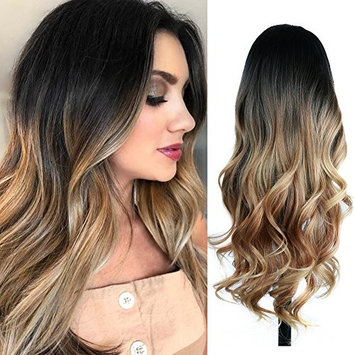 Quantum Love Wigs Ombre Wig Black To Light Brown Side Part Long Wavy Wig Heat Resistant Synthetic Daily Party Wig For Women