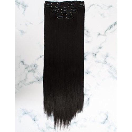 "GOSSAMELLE 24"" 10 Pcs 22 Clips Straight Hair Extensions Clips in Dark Brown Hair Extensions for Women 200g (Straight, 2)"
