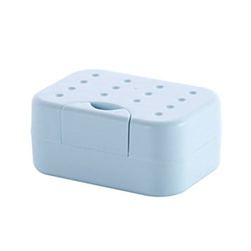 Buckle Lid Portable Soap Case Holder Container Box Hand Soap Covered Rectangular Plastic Dish with Water-absorbing Sponge for Home Outdoor Hiking Camping Travel Portable Tools,Blue Color