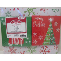 Ideal Box Company HOLIDAY TIME - 4 PACK CANDLE GIFT BOXES, PRINT, RED, GREEN, WHITE