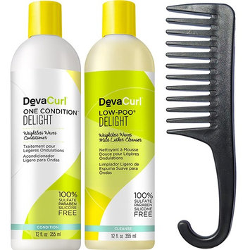 Deva Curl Delight Low-Poo 12 fl oz and One Condition 12 fl oz Duo With FREE Shower Comb