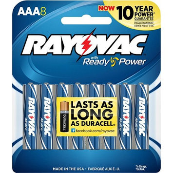 Rayovac Alkaline AAA Batteries, 824-8CF, 8-Pack