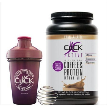 Click Active Coffee Protein Drink Mix, Vanilla Latte, 1.67 Lb