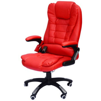 Homcom Executive Ergonomic Heated Vibrating Computer Desk Office Massage Chair - Red