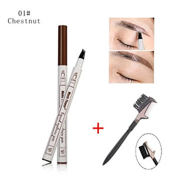 Kiss Beauty Liquid Eyebrow Pen,Eyebrow Long Lasting Tint Dye Cream,Waterproof,Smudge-Proof (01 Chestnut