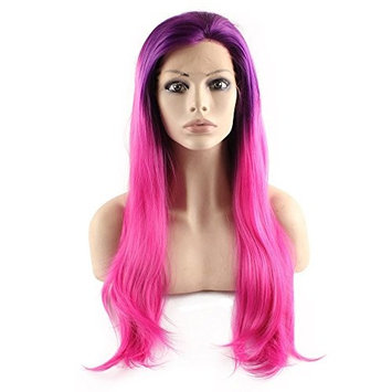 Mxangel Long Straight Heat Resistant Synthetic Front Lace purple Hot Pink Wig Ombre Tone