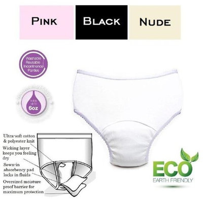 Care Apparel 2465-1B-AST 6 oz Medium Ladies Reusable Incontinence Panty Assorted Colors - Pack of 3