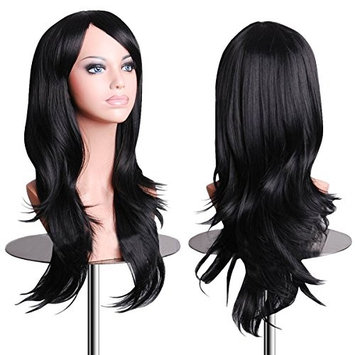 EmaxDesign Wigs 28 Inch Cosplay Wig For Women With Wig Cap and Comb(Black)