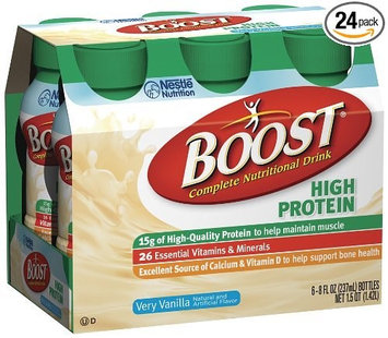 Boost High Protein Very Vanilla Nutritional Supplement 8 oz. Bottle Ready to Use 6 Cases of 24