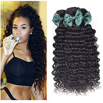 Perstar Hair 8A Grade Brazilian Virgin Hair Deep Wave 3 Bundles Remy Human Hair Weaves Natural Black Factory Price (24 26 28, Natural Color) …